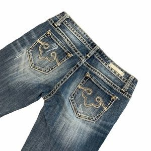 ReRock Express Jeans Bootcut Distressed Stitching